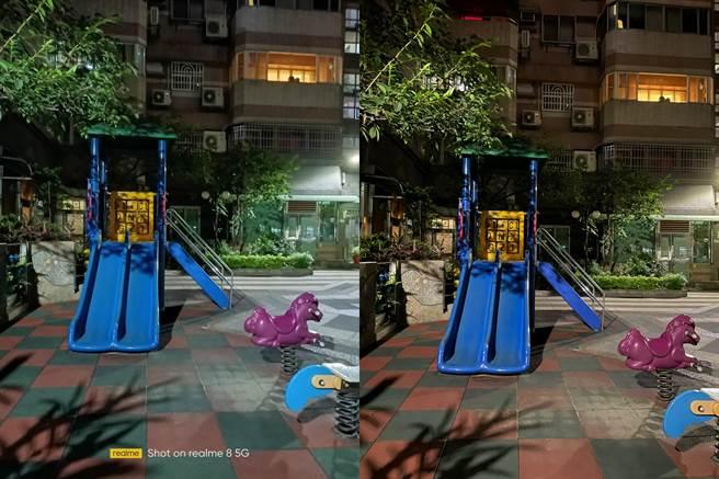 realme 8 5G(左)對比iPhone 12 Pro相機夜間拍攝(1)。(黃慧雯攝)