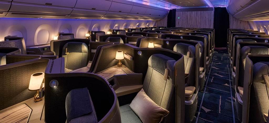華航飛機上的商務艙融合東方生活美學及傳統文化元素。(摘自華航官網/陳祐誠傳真)
