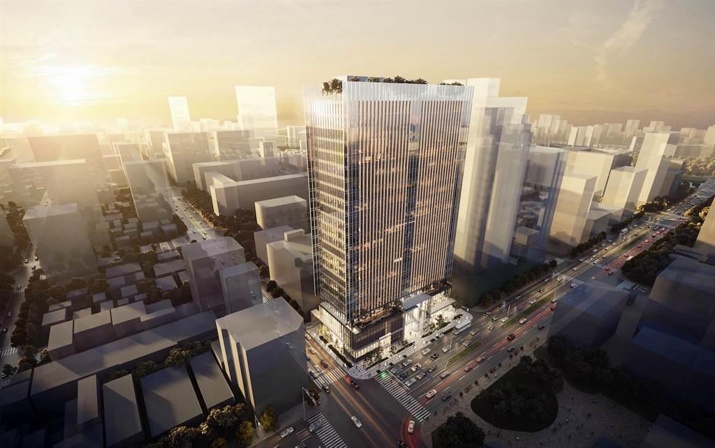 名軒開發高捷橘線O4市議會站開發案建築外觀示意圖。(麗寶集團提供)