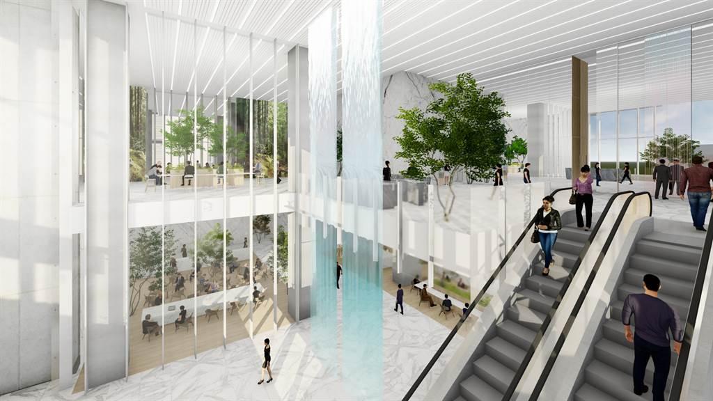 高捷橘線O4市議會站開發案建築內部示意圖。(麗寶集團提供)