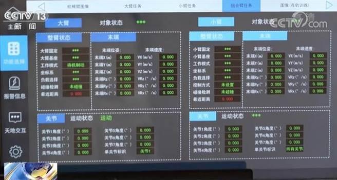 中國太空人在神舟12號載人飛船與天宮太空站上的操作介面都是中文顯示,其操作指引手冊也是以中文撰寫。(圖/央視截圖)