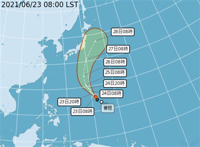 薔琵颱風往北前進,對台灣無影響。(翻攝自氣象局)