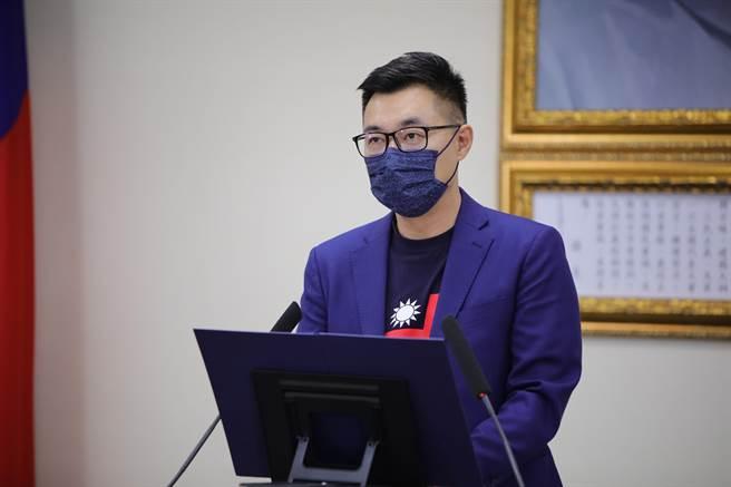 國民黨主席江啟臣下午主持視訊中常會。(國民黨提供)