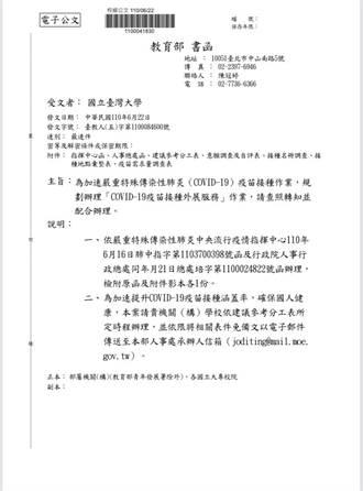 獨家/教育部函大專校院造冊 調查教職員打疫苗意願