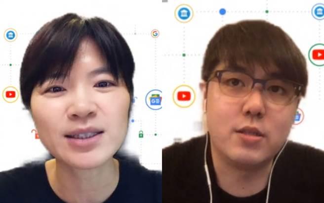 「Google解密」系列第七場活動,聚焦YouTube 平台責任的主題,邀請YouTube 大中華區策略合作夥伴資深總監陳容歆(左)與《志祺七七 X 圖文不符》頻道創作者張志祺進行分享。(Google提供)