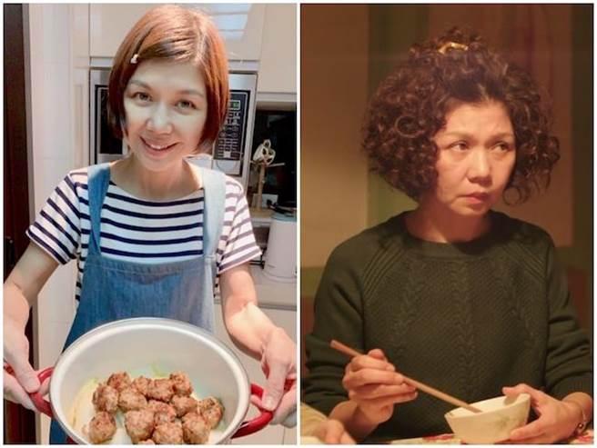 于子育下廚做父親手路菜紅燒獅子頭,右圖為劇照。(翻攝于子育臉書)