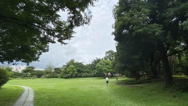 科博館的綠地僅有零星民眾戴口罩散步、運動。(陳淑芬攝)