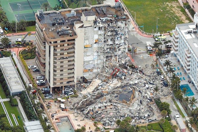 美國邁阿密海灘附近的1棟40年的12層大樓,24日凌晨坍塌,造成至少4人死亡,159人失聯。(路透)
