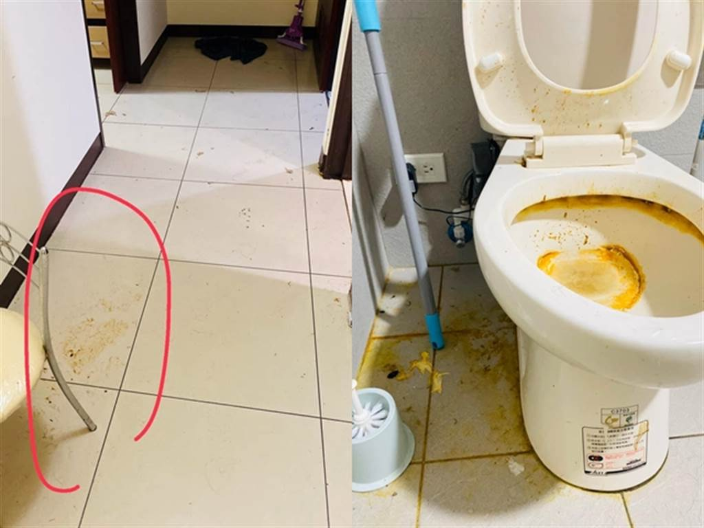 該房東事後到屋內查看,竟發現整間屋髒亂不堪,到處都是寵物的糞便尿液,廁所到處是深黃色汙漬,洗衣機內也滿是動物毛髮,讓他崩潰且氣憤。(翻攝臉書「爆料公社」)
