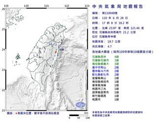 17:08花蓮秀林發生規模4.7地震 最大震度4級