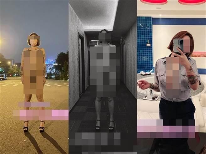 有網友肉搜起底崔女過往經歷,發現崔女曾穿警察制服拍爆乳照片、也曾在台中大街和旅館走道拍裸照,涉嫌公然妨害風化行徑已不只一樁。(翻攝崔女推特/石秀華高雄傳真)