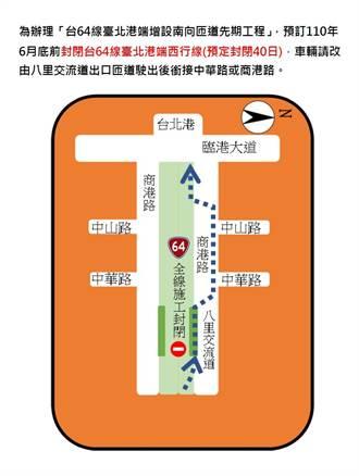 台64線增設南向匝道工程 台北港端西行線明起封閉40天