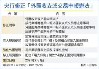 修正四項規章,7/1上路 央行推外匯三大便民措施