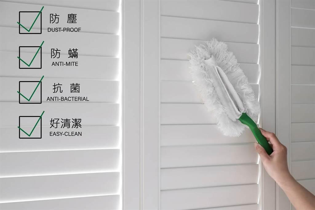 Shutters 百葉窗採塑鋁共押技術,外層使用通過SGS認證無毒水性壓克力漆,不含鉛及揮發性物質,不危害人體,對於小朋友來說非常安全。(圖片提供/隆美窗飾)