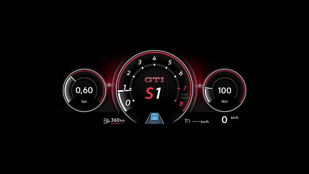 Golf GTI具備專屬儀表,除介面不同外亦提供G-Force/Bar增壓值/賽道單圈計時等專屬功能。