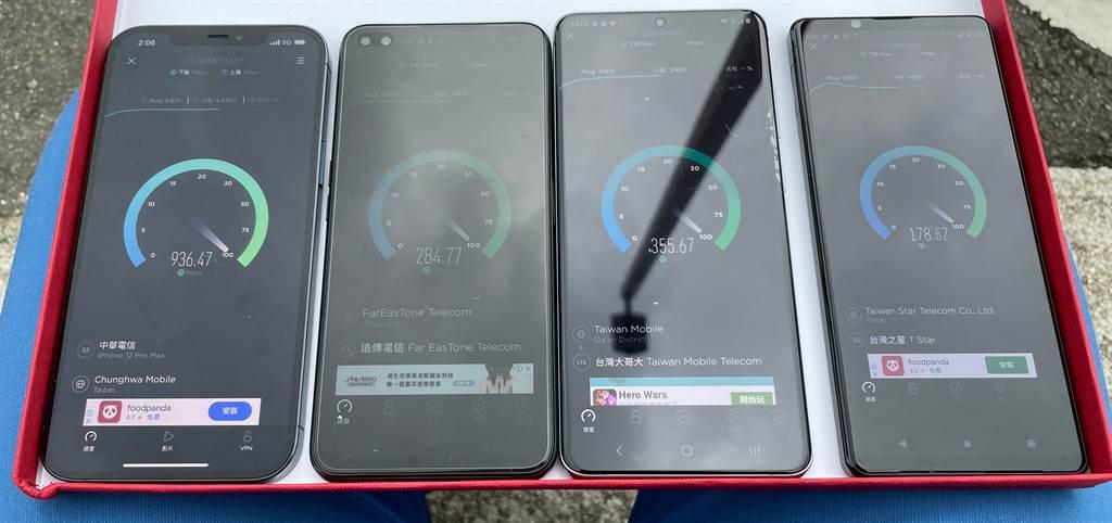 iPhone 12 Pro、realme X50 5G、三星Galaxy S20 Ultra、Sony Xperia 1 II是6月5G測速專題使用的5G手機。(黃慧雯攝)