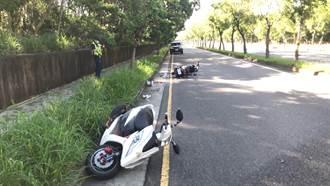 台中女騎士超車時摔車倒地 後方機車閃避不及撞上