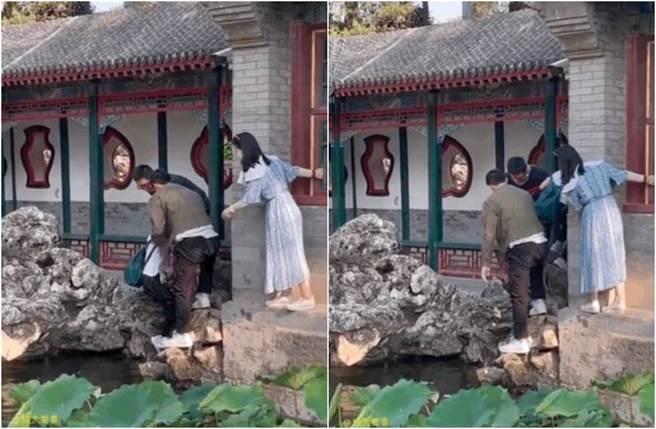 網友目擊一名平頭男救了落水男童。(圖/翻攝自微博)