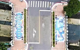 鯊魚來了!中市人行橋3D立體彩繪超吸睛