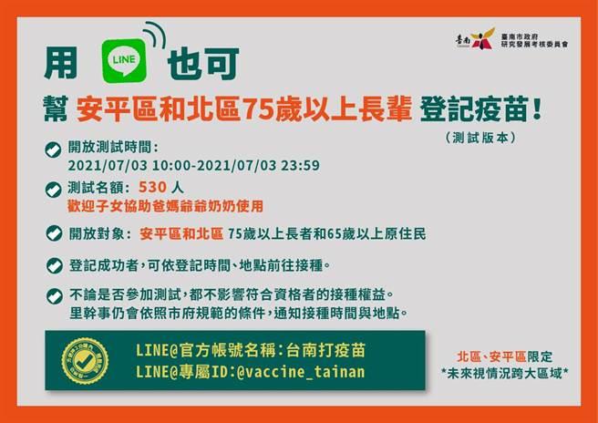 台南市政府日推出「台南打疫苗」Line官方帳號線上登記制。(台南市研考會提供/曹婷婷台南傳真)