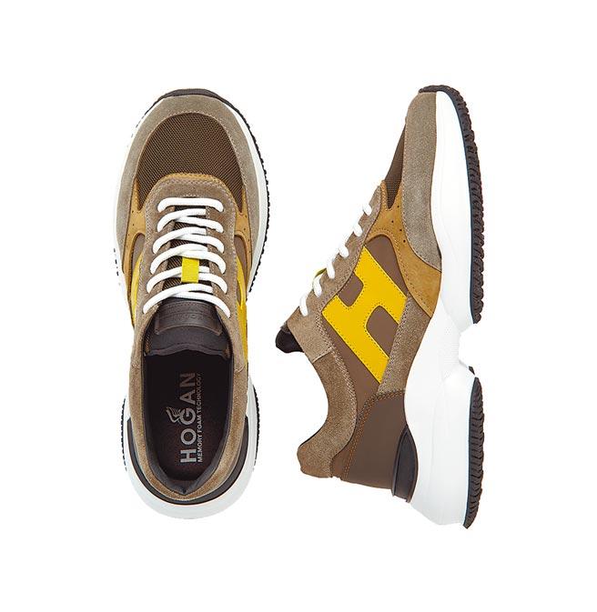 Hogan Interaction軍綠撞色休閒鞋,1萬9600元。(Hogan提供)