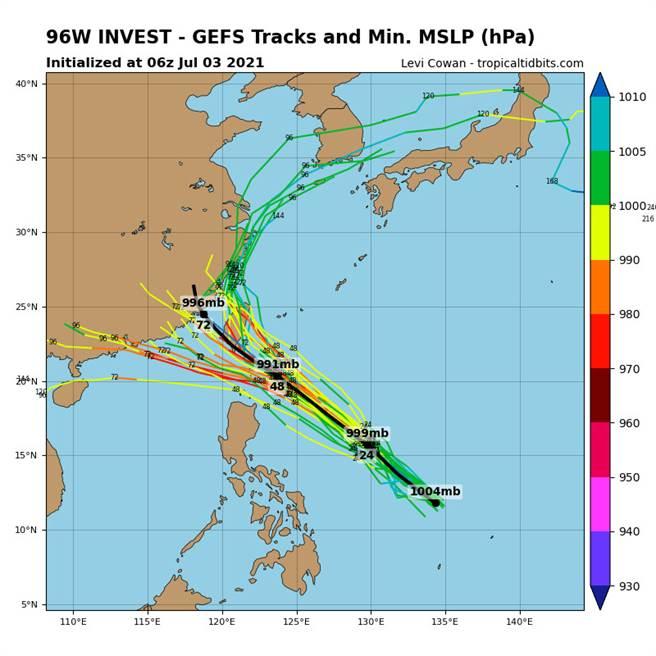 美國GEFS系集模式模擬,擾動未來路徑。(翻攝自tropicaltidbits)