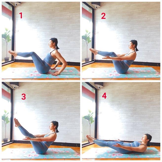 營養師兼瑜伽老師安妹示範地板瑜伽核心動作,教民眾宅居也能做運動。