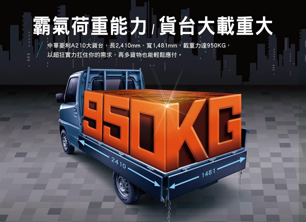 中華菱利商用車好幫手,提升最大載重量至950公斤。