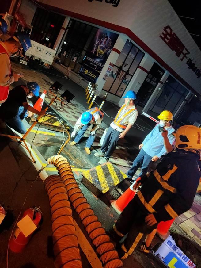 台中市大雅區中清路中油高壓天然氣管線4日晚間發生瓦斯外洩意外,濃度一度高達1萬ppm。(民眾提供/陳淑娥台中傳真)