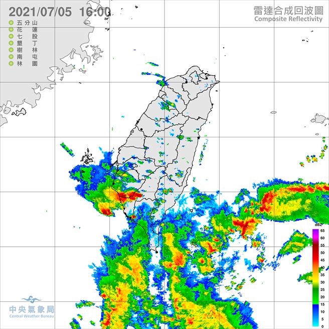 雷雨彈狂炸南部,尤其是高雄雨勢最大。(翻攝自氣象局)