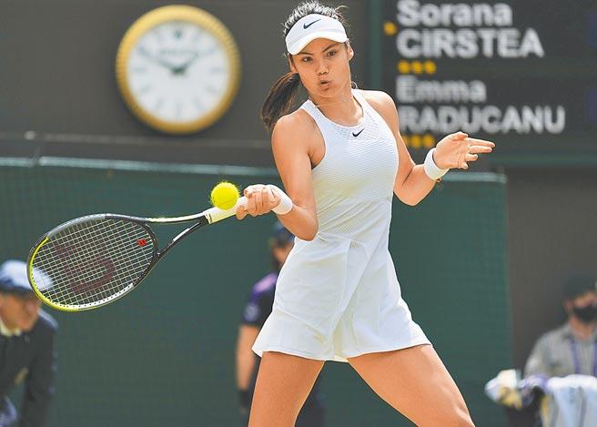 英國女將拉杜卡努生涯首度闖進溫網16強。(美聯社)