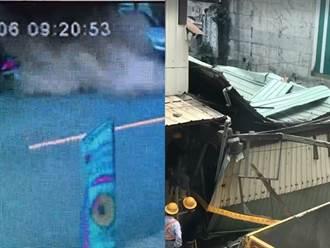 台中民宅倒塌影片曝光 車開出瞬間整棟下陷塵土四濺