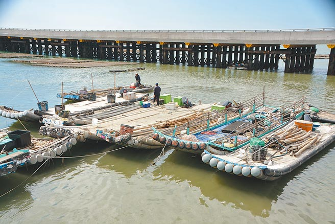疫情期間又要面對颱風,雲林縣漁民展開防颱作業減少損失。(張朝欣攝)
