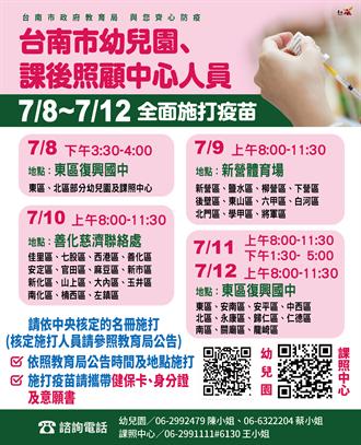 台南幼兒園和課照中心人員8日分3處施打 教育局籲分流勿群聚