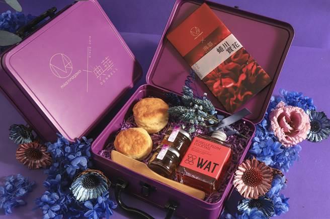 典華美學空間為線上下午茶設計的「Mika下午茶派對盒」,以紫色為主調傳遞浪漫氛圍。(圖/典華婚宴美學空間)