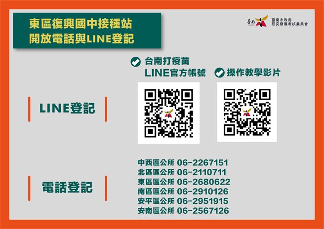台南市政府推出「台南打疫苗」LINE疫苗預約系統。(台南市研考會提供/曹婷婷台南傳真)