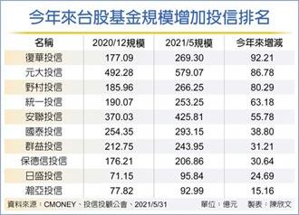 五家投信大者恆大 台股基金規模 攀十年高點