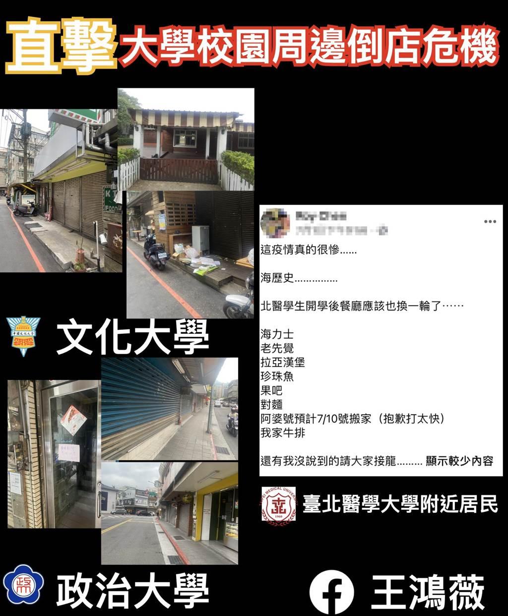 北市議員王鴻薇近期針對大學商圈進行調查,發現不少地區已出現倒店潮。(王鴻薇提供)