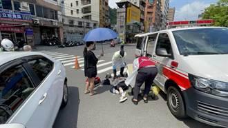 汽車左轉撞上對向直行機車 男子煞車不及飛越車頂