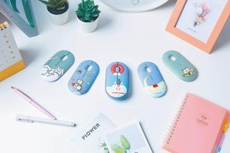 羅技聯名毛毛蟲文創 無線滑鼠上蓋有色計
