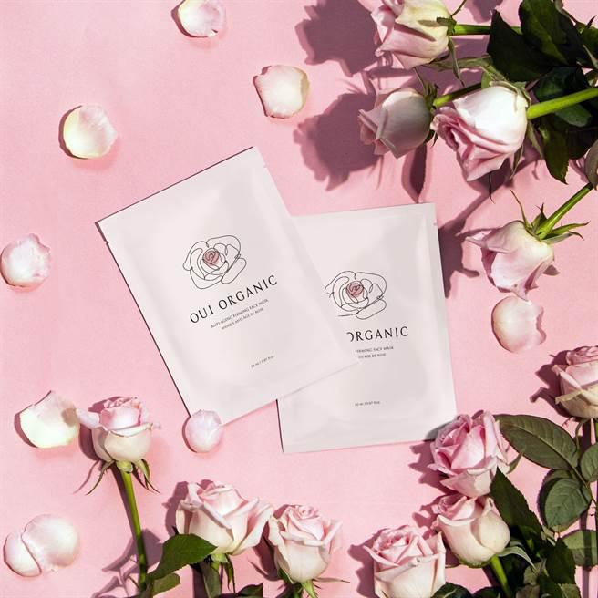 Oui Organic玫瑰精萃煥顏保濕面膜。(圖/品牌提供)