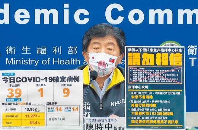 圖為中央流行疫情指揮中心指揮官陳時中。(中央流行疫情指揮中心提供)