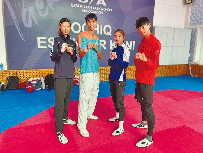跆拳道國手羅嘉翎(左起)、劉威廷、蘇柏亞、黃鈺仁即將出征東奧。(體育署提供)
