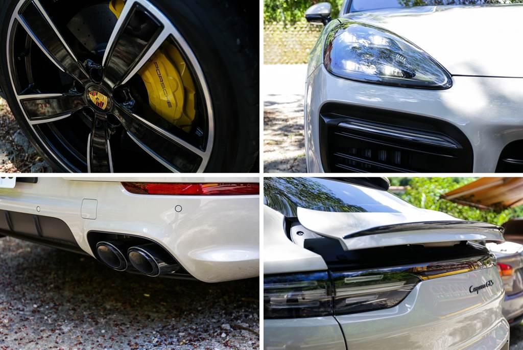 外觀包含頭燈、輪圈、排氣系統,GTS都有比S更高規的搭配,而試駕車則另外選配22吋Cayenne Sport Classic輪圈(15.99萬元)、燻黑矩陣式頭燈PDLS Plus(6.75萬元)等,金屬羊絨淺褐色的車身也要價15.16萬元。