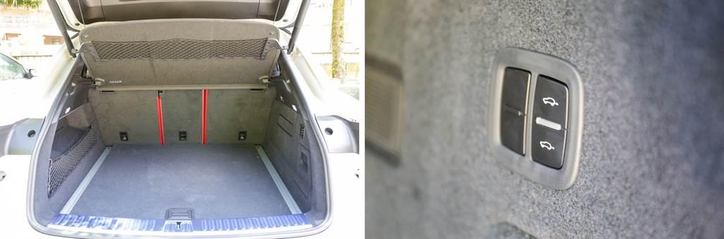 625升的行李廂容積已不算小,不過受到斜背造型影響,空間利用上仍是略輸標準版Cayenne,在選配氣壓懸吊(13.6萬元)的情況下,可在尾門處將後軸下降,便於上下行李。