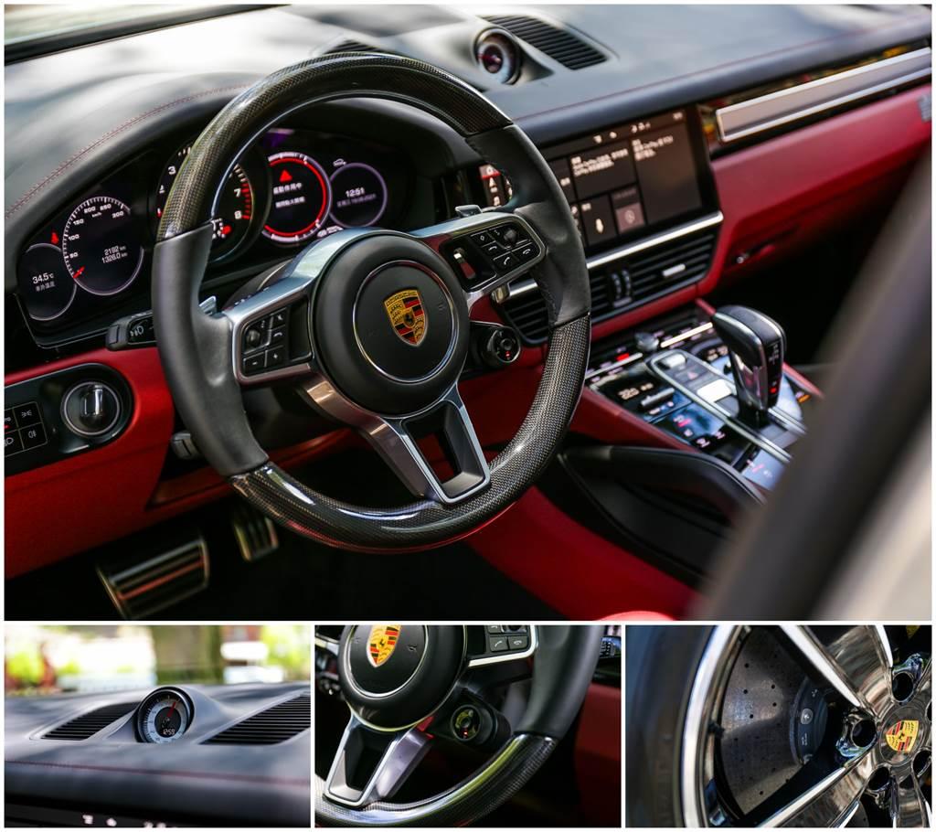 Cayenne Coupe上將可提升性能的跑車計時套件列為標配,因此方向盤上也多了Sport Response的小按鈕,可在20秒內調整至加速最快的引擎及變速箱配置;除此之外,試駕車選配PCCB陶瓷複合煞車系統搭配黃色煞車卡鉗,跑得快也煞得穩,不過要價近57萬元為全車最貴選配。