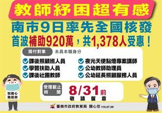 未具本職各類鐘點教師 台南9日核發1378人 共補助920萬