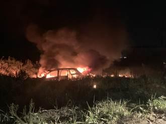 疫情下 開車硬闖林口「台版大峽谷」 車子卡沙坑燒成廢鐵