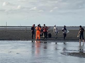 採集文蛤沙灘車受困沙洲 雲林海巡即刻救援