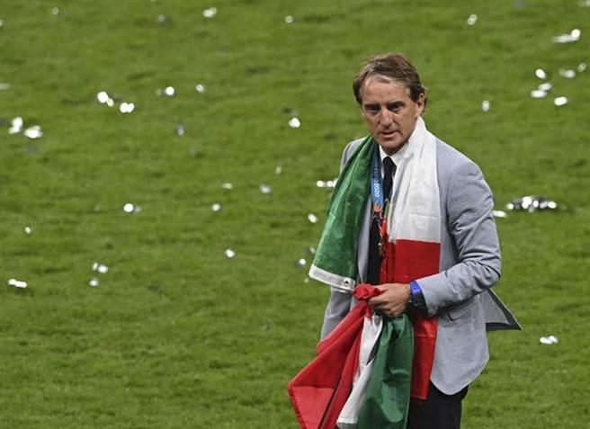 義大利總教練曼奇尼帶領國家隊譜寫連續34場不敗神話。(美聯社)